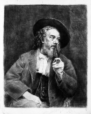 Marcellin-Gilbert Desboutin (French, 1823-1902). <em>Self Portrait With Pipe</em>, 1897. Drypoint and heliogravure on wove paper, Plate: 7 3/4 x 6 1/8 in. (19.7 x 15.6 cm). Brooklyn Museum, Designated Purchase Fund, 78.110.1 (Photo: Brooklyn Museum, 78.110.1_bw.jpg)