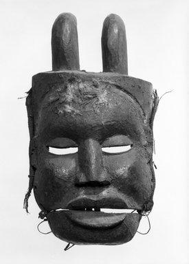 Ibibio. <em>Idiok Ekpo Mask</em>, early 20th century. Wood, pigment, feathers, fiber, hide, cane, 16 x 9 x 5 1/2 in. (40.6 x 22.8 x 14.0 cm). Brooklyn Museum, Gift of Mr. and Mrs. J. Gordon Douglas III, 78.115.4. Creative Commons-BY (Photo: Brooklyn Museum, 78.115.4_bw.jpg)