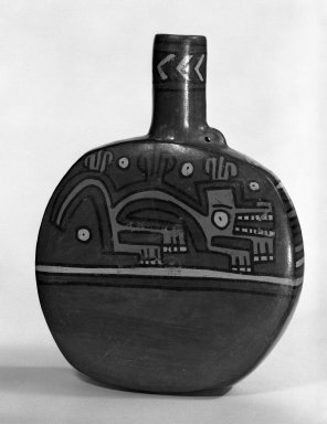Wari. <em>Canteen</em>. Ceramic, pigment, 7 1/4 x 5 1/2 x 1 1/4 in. (18.4 x 14 x 3.2 cm). Brooklyn Museum, Gift of Mr. and Mrs. Paul B. Taylor, 78.118.38. Creative Commons-BY (Photo: Brooklyn Museum, 78.118.38_bw.jpg)