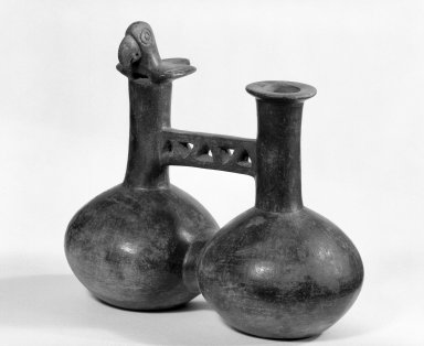 Chimú. <em>Double-chambered Whistling Bottle with Bird</em>, ca.1100-1400. Ceramic, 6 1/4 x 7 x 3 1/2 in. (15.9 x 17.8 x 8.9 cm). Brooklyn Museum, Gift of Mr. and Mrs. Paul B. Taylor, 78.118.40. Creative Commons-BY (Photo: Brooklyn Museum, 78.118.40_bw.jpg)