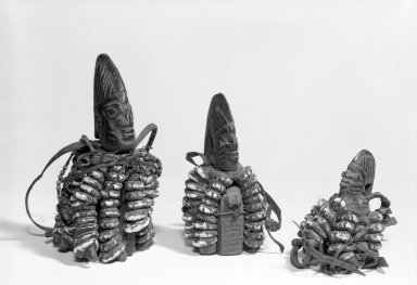 Yorùbá. <em>Figure Head (Ogo Elegba)</em>, late 19th or early 20th century. Wood, indigo, cowrie shells, hide, 4 1/2 x 2 1/2 x 2 3/4 in. Brooklyn Museum, Gift of Mr. and Mrs. Paul B. Taylor, 78.118.9. Creative Commons-BY (Photo: , 78.118.8_78.118.9_78.118.10_bw.jpg)