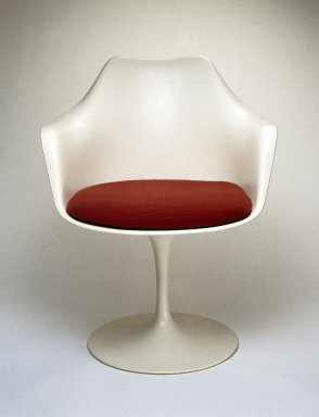 "Eero Saarinen (American, born Finland, 1910-1961). <em>""Pedestal"" Armchair and Seat Cushion</em>, Designed 1956; Manufactured ca. 1970. Plastic reinforced with fiberglass, wool, 32 x 25 1/2 x 23 in. (81.3 x 64.8 x 58.4 cm). Brooklyn Museum, Gift of Knoll International, Inc., 78.128.7. Creative Commons-BY (Photo: Brooklyn Museum, 78.128.7_view1_IMLS_SL2.jpg)"