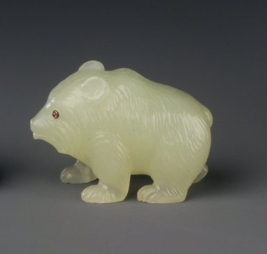 House of Carl Fabergé (1846-1920). <em>Bear</em>, 1886-1917. Jade and rubies, 1 5/8 x 2 x 1 in. (4.2 x 5.1 x 2.5 cm). Brooklyn Museum, Bequest of Helen Babbott Sanders, 78.129.10. Creative Commons-BY (Photo: Brooklyn Museum, 78.129.10_transpc003.jpg)
