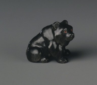 House of Carl Fabergé (1846-1920). <em>Bear</em>, 1886-1917. Obsidian, rubies, 15/16 x 13/16 x 1 1/4 in. (2.3 x 2.0 x 3.2 cm). Brooklyn Museum, Bequest of Helen Babbott Sanders, 78.129.12. Creative Commons-BY (Photo: Brooklyn Museum, 78.129.12_transpc003.jpg)