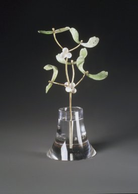 House of Carl Fabergé (1846-1920). <em>Potted Mistletoe Plant, Crystal Pot</em>, 1870-1920. Jade, gold, crystal, 5 1/2 x 2 x 2 1/8 in. (14.0 x 5.1 x 5.4 cm). Brooklyn Museum, Bequest of Helen Babbott Sanders, 78.129.13. Creative Commons-BY (Photo: Brooklyn Museum, 78.129.13_transp2671.jpg)