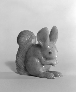 House of Carl Fabergé (1846-1920). <em>Squirrel, with Diamond Chip Eyes</em>, 1870-1918. Jade, diamond, 1 7/8 x 7/8 x 1 3/4 in. (4.8 x 2.2 x 4.4 cm). Brooklyn Museum, Bequest of Helen Babbott Sanders, 78.129.2. Creative Commons-BY (Photo: Brooklyn Museum, 78.129.2_bw.jpg)