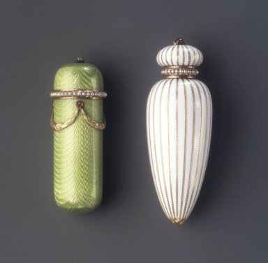House of Carl Fabergé (1846-1920). <em>Perfume Bottle</em>, probably after 1896. Jade, enamel, seed pearl, 2 1/4 x 7/8 in. (5.7 x 2.2 cm). Brooklyn Museum, Bequest of Helen Babbott Sanders, 78.129.19. Creative Commons-BY (Photo: , 78.129.6_78.129.19.jpg)