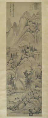 Yun Hsiang (Chinese, 1586-1655). <em>Landscape, Hanging Scroll</em>, 1368-1644. Ink on paper, 94 x 28 in. (238.8 x 71.1 cm). Brooklyn Museum, Gift of Mr. and Mrs. Harry Kahn, 78.143.2 (Photo: Brooklyn Museum, 78.143.2_PS6.jpg)