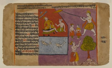 Indian. <em>Balarama Pulling Hastinapur toward the Ganages, Page from a Bhagavata Dasamskanda series</em>, mid 17th century. Opaque watercolor on paper with gold and silver details on paper, sheet: 7 5/16 x 12 3/8 in.  (18.6 x 31.4 cm). Brooklyn Museum, Gift of Terence McInerney, 78.144 (Photo: Brooklyn Museum, 78.144_IMLS_PS4.jpg)