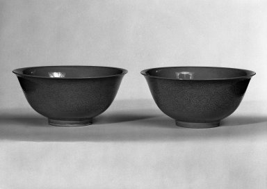 <em>Pair of Bowls</em>, 1722-1735. Porcelain with monochrome glaze, height: 2 1/2 in. (6.3 cm); diameter: 5 3/8 in. (13.7 cm). Brooklyn Museum, Bequest of Helen Babbott Sanders, 78.146.2. Creative Commons-BY (Photo: Brooklyn Museum, 78.146.2_bw.jpg)