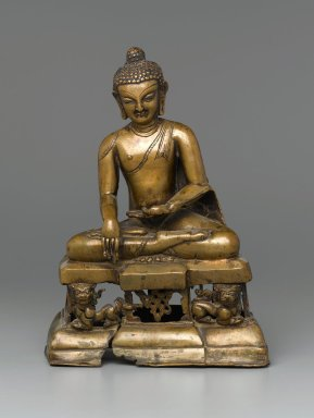 <em>Seated Buddha Shakyamuni</em>, 12th century. Bronze, silver inlay, Height: 11 1/2 in. (29.2 cm). Brooklyn Museum, Gift of Gustave Schindler, 78.147. Creative Commons-BY (Photo: Brooklyn Museum, 78.147_PS1.jpg)