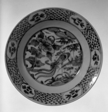 <em>Plate</em>, late 16th-early 17th century. Porcelain with cobalt-blue underglaze decoration, 2 5/8 x 11 in. (6.7 x 28 cm). Brooklyn Museum, Gift of Mr. and Mrs. William Small, 78.148. Creative Commons-BY (Photo: Brooklyn Museum, 78.148_bw.jpg)