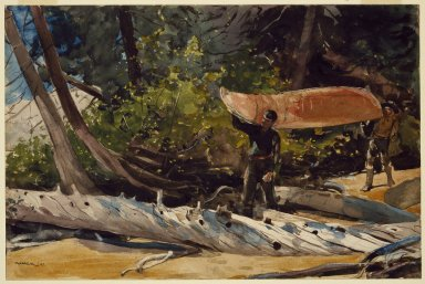 Winslow Homer (American, 1836-1910). <em>End of the Portage</em>, 1897. Transparent and opaque watercolor with graphite underdrawing on off-white, moderately thick, moderately textured wove paper, 14 x 21 in. (35.6 x 53.3 cm). Brooklyn Museum, Bequest of Helen Babbott Sanders, 78.151.1 (Photo: Brooklyn Museum, 78.151.1_SL3.jpg)