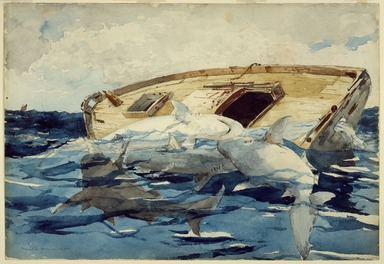 Winslow Homer (American, 1836-1910). <em>Sharks; also The Derelict</em>, 1885. Watercolor over graphite on cream, moderately thick, moderately textured wove paper, 14 1/2 x 20 15/16 in. (36.8 x 53.2 cm). Brooklyn Museum, Gift of the Estate of Helen Babbott Sanders, 78.151.4 (Photo: Brooklyn Museum, 78.151.4_SL3.jpg)