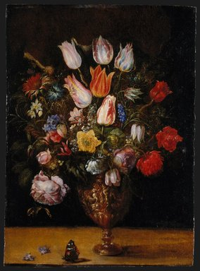 Gaspar van den Hoecke (Flemish, 1575-1648). <em>Flowers in a Vase</em>, first quarter 17th century. Oil on panel, 19 5/8 x 14 1/4 in.  (49.8 x 36.2 cm). Brooklyn Museum, Bequest of Helen Babbott Sanders, 78.151.5 (Photo: Brooklyn Museum, 78.151.5_SL1.jpg)