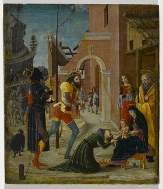 Bernardino Butinone (Italian, Milanese, ca. 1450-1510). <em>The Adoration of the Magi</em>, ca. 1485-1495. Tempera on panel, 9 3/4 x 8 1/2 in. (24.8 x 21.6 cm). Brooklyn Museum, Bequest of Helen Babbott Sanders, 78.151.6 (Photo: Brooklyn Museum, 78.151.6_PS2.jpg)
