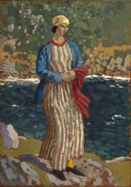 Augustus John (British, 1878-1961). <em>Woman by a Riverbank</em>, ca. 1910-1912. Oil on panel, 18 x 12 1/2 in.  (45.7 x 31.8 cm). Brooklyn Museum, Bequest of Helen Babbott Sanders, 78.151.7 (Photo: Brooklyn Museum, 78.151.7_SL1.jpg)