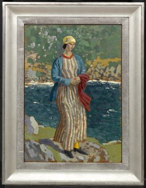 Augustus John (British, 1878-1961). <em>Woman by a Riverbank</em>, ca. 1910-1912. Oil on panel, 18 x 12 1/2 in.  (45.7 x 31.8 cm). Brooklyn Museum, Bequest of Helen Babbott Sanders, 78.151.7 (Photo: Brooklyn Museum, 78.151.7_framed_PS1.jpg)