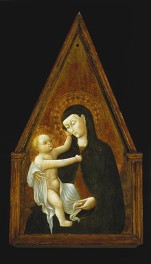 Pietro  di Giovanni d'Ambrogio (Italian, School of Siena, active 1428-1449). <em>Madonna and Child</em>, 1440s. Tempera and tooled gold on poplar panel, 38 1/2 x 20 7/8 x 1 5/8 in. (97.8 x 53 x 4.1 cm). Brooklyn Museum, Bequest of Helen Babbott Sanders, 78.151.9 (Photo: Brooklyn Museum, 78.151.9_SL1.jpg)