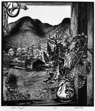 Herbert Waters (American, 1903-1996). <em>Autumn Boquet</em>, 1952. Wood engraving on paper, sheet: 10 1/4 x 9 in. (26 x 22.9 cm). Brooklyn Museum, Gift of the artist, 78.163.1. © artist or artist's estate (Photo: Brooklyn Museum, 78.163.1_bw.jpg)