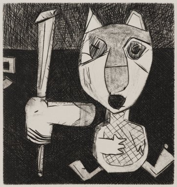 Scott Smith (American, born 1951). <em>Old Friends</em>, 1977. Plexiglass engraving on paper, sheet: 9 3/8 x 9 3/8 in. (23.8 x 23.8 cm). Brooklyn Museum, Designated Purchase Fund, 78.172.2. © artist or artist's estate (Photo: Brooklyn Museum, 78.172.2_PS4.jpg)