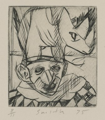 Scott Smith (American, born 1951). <em>Untitled (Rhino and Clown)</em>, 1975. Plexiglass engraving on paper, sheet: 5 x 4 3/4 in. (12.7 x 12.1 cm). Brooklyn Museum, Designated Purchase Fund, 78.172.4. © artist or artist's estate (Photo: Brooklyn Museum, 78.172.4_PS4.jpg)