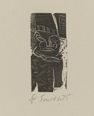 Scott Smith (American, born 1951). <em>Untitled (Man)</em>, ca. 1975. Wood engraving on paper, sheet: 4 x 2 7/8 in. (10.2 x 7.3 cm). Brooklyn Museum, Designated Purchase Fund, 78.172.5. © artist or artist's estate (Photo: Brooklyn Museum, 78.172.5_PS4.jpg)