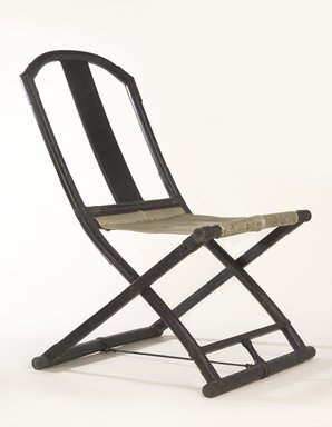 <em>Folding Chair</em>, 15th century. Lacquered wood, leather, 28 3/8 x 20 1/2 x 19 5/16 in. (72 x 52 x 49 cm). Brooklyn Museum, Anonymous gift, 78.196. Creative Commons-BY (Photo: Brooklyn Museum, 78.196_threequarter_PS9.jpg)