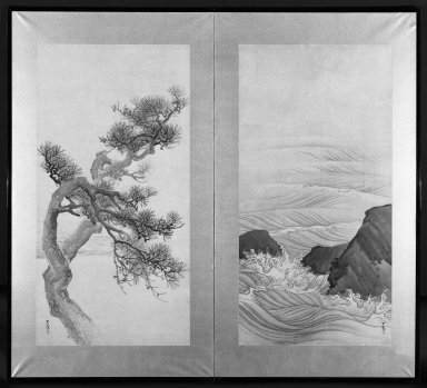 Matsumura Goshun (Japanese, 1752-1811). <em>Pine Trees and Waves</em>, after 1788. Two-panel screen, ink and light color on paper, 37 1/4 x 68 in. (94.6 x 172.7 cm). Brooklyn Museum, Gift of Dr. and Mrs. Robert Feinberg, 78.197.2. Creative Commons-BY (Photo: Brooklyn Museum, 78.197.2_bw.jpg)