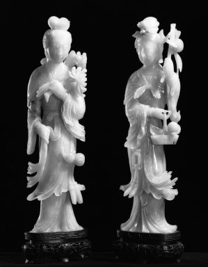 <em>One of a Pair of Figurines of Daoist Immortals</em>, 19th-20th century. Jadeite, 10 1/4 x 2 3/4 in. (26 x 7 cm). Brooklyn Museum, Gift of Mr. and Mrs. James Leipner, 78.201.1. Creative Commons-BY (Photo: , 78.201.1_78.201.2_bw.jpg)