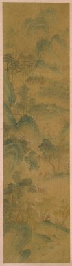 <em>1 of 4-Panel Screen: Scenes of Four Seasons</em>, 19th century. Ink and light color on paper, Image: 58 1/4 x 14 15/16 in. (148 x 38 cm). Brooklyn Museum, Gift of Francis H. Scola, 78.205.1 (Photo: Brooklyn Museum, 78.205.1_SL1.jpg)