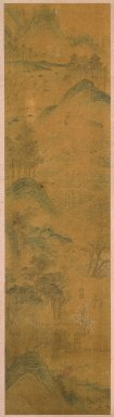 <em>1 of 4-Panel Screen: Scenes of Four Seasons</em>, 19th century. Ink and light color on paper, Image: 58 1/4 x 14 15/16 in. (148 x 38 cm). Brooklyn Museum, Gift of Francis H. Scola, 78.205.2 (Photo: Brooklyn Museum, 78.205.2_SL1.jpg)