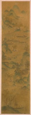 <em>1 of 4-Panel Screen: Scenes of Four Seasons</em>, 19th century. Ink and light color on paper, Image: 58 1/4 x 14 15/16 in. (148 x 38 cm). Brooklyn Museum, Gift of Francis H. Scola, 78.205.4 (Photo: Brooklyn Museum, 78.205.4_SL1.jpg)