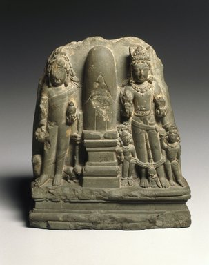 <em>Brahmanical Triad</em>, early 8th century. Chlorite, 7 5/16 × 6 5/16 × 2 3/8 in. (18.5 × 16 × 6 cm). Brooklyn Museum, A. Augustus Healy Fund and Asian Art Acquisition Fund, 78.209. Creative Commons-BY (Photo: Brooklyn Museum, 78.209_SL1.jpg)