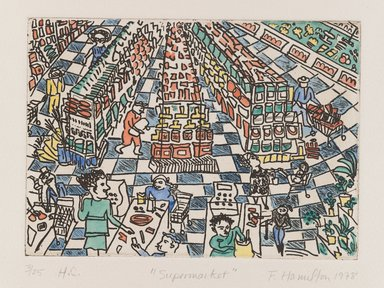 Frances Hamilton (American). <em>Supermarket</em>, 1978. Hand-colored etching, Sheet: 16 1/8 x 13 in. (41 x 33 cm). Brooklyn Museum, Gift of the artist, 78.218.2. © artist or artist's estate (Photo: Brooklyn Museum, 78.218.2_PS4.jpg)