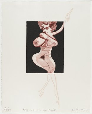 William Heydt (American, born 1949). <em>Femme de La Nuit</em>, 1976. Etching and drypoint, Image/Sheet: 13 7/8 x 11 1/8 in. (35.2 x 28.3 cm). Brooklyn Museum, Designated Purchase Fund, 78.232.1e. © artist or artist's estate (Photo: Brooklyn Museum, 78.232.1e_PS4.jpg)