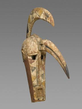 Bobo. <em>Kuma Mask</em>, late 19th-early 20th century. Wood, pigment, iron, 33 3/4 x 10 1/2 x 27 3/4 in. (85.7 x 26.7 x 70.5 cm). Brooklyn Museum, Gift of Rosemary and George Lois, 78.240. Creative Commons-BY (Photo: Brooklyn Museum, 78.240_PS2.jpg)