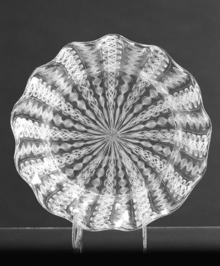 Boston and Sandwich Glass Company. <em>Bowl</em>, ca. 1850. Filigree glass, 1 3/8 x 6 1/4 in. (3.5 x 15.9 cm). Brooklyn Museum, Gift of Allison C. Paulsen in memory of Arthur W. Clement, 78.242.13. Creative Commons-BY (Photo: Brooklyn Museum, 78.242.13_bw.jpg)