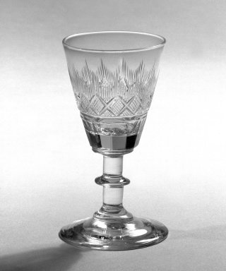 <em>One of Pair of Wine Glasses, Blown and Cut</em>, 1860. Glass, 2 1/8 x 2 1/4 in. (5.4 x 5.7 cm). Brooklyn Museum, Gift of Allison C. Paulsen in memory of Arthur W. Clement, 78.242.15. Creative Commons-BY (Photo: Brooklyn Museum, 78.242.15_bw.jpg)