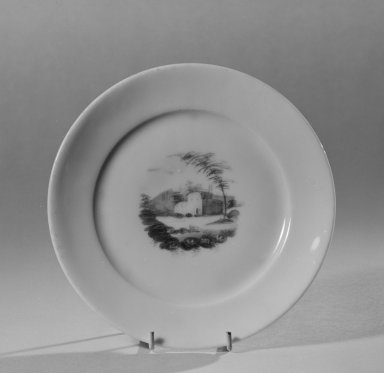 Possibly William Ellis Tucker (American, active 1826-1838). <em>Plate</em>, 1820-1830. Porcelain, Diam.: 6 1/4 in. (15.9 cm). Brooklyn Museum, Gift of Allison C. Paulsen in memory of Arthur W. Clement, 78.242.31. Creative Commons-BY (Photo: Brooklyn Museum, 78.242.31_bw.jpg)