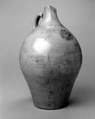 Attributed to Jonathan Fenton. <em>Jug</em>, 1793-1796. Stoneware, 15 1/8 x 10 x 10 in. (38.4 x 25.4 x 25.4 cm). Brooklyn Museum, Gift of Allison C. Paulsen in memory of Arthur W. Clement, 78.242.33. Creative Commons-BY (Photo: Brooklyn Museum, 78.242.33_bw.jpg)