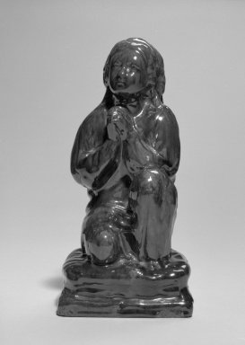 Possibly United States Pottery Company. <em>Figure of Praying Girl</em>, ca. 1850. Rockingham-glazed earthenware, H: 9 in. (22.9 cm). Brooklyn Museum, Gift of Allison C. Paulsen in memory of Arthur W. Clement, 78.242.34. Creative Commons-BY (Photo: Brooklyn Museum, 78.242.34_bw.jpg)
