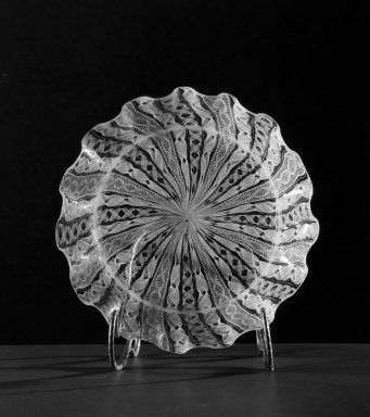 <em>Bowl, blown filigree</em>, 19th century. Sandwich glass, 6 1/2 x 1/16 in. (16.5 x 0.2 cm). Brooklyn Museum, Gift of Allison C. Paulsen in memory of Arthur W. Clement, 78.242.7. Creative Commons-BY (Photo: Brooklyn Museum, 78.242.7_acetate_bw.jpg)