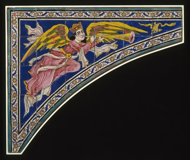 <em>Tile Spandrel (One of Two)</em>, ca. 1870. Ceramic; fritware, painted in cobalt blue, pink, yellow, and green glazes in the cuerda seca (dry-cord) technique, 38 1/2 x 46 1/8 in. (97.8 x 117.2 cm). Brooklyn Museum, Gift of Mr. and Mrs. Paul E. Manheim, 78.244.2. Creative Commons-BY (Photo: Brooklyn Museum, 78.244.2_SL1.jpg)