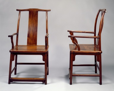 <em>Yokeback Armchair, One of Pair</em>, first half 17th century. Huanghuali wood, 43 5/8 x 24 x 23 in. (110.8 x 61 x 58.4 cm). Brooklyn Museum, Gift of Alice Boney, 78.246.2. Creative Commons-BY (Photo: Brooklyn Museum, 78.246.1_78.246.2_SL3.jpg)