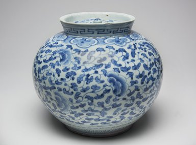 <em>Jar with Lid</em>, late 19th century. Porcelain with under glaze cobalt decoration, Height: 7 7/8 in. (20 cm). Brooklyn Museum, Gift of Bernice and Robert Dickes, 78.247.1a-b. Creative Commons-BY (Photo: Brooklyn Museum, 78.247.1a-b_PS11.jpg)