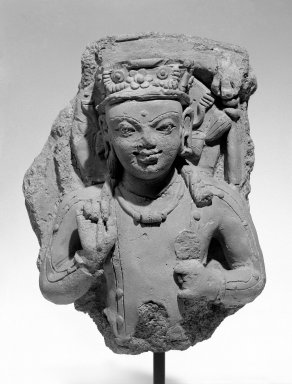 <em>Kumara-Skanda</em>, 5th century. Terracotta relief plaque, 17 in. (43.2 cm). Brooklyn Museum, Gift of Bernice and Robert Dickes, 78.247.2. Creative Commons-BY (Photo: Brooklyn Museum, 78.247.2_bw.jpg)