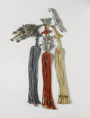 <em>Tassel (Samjak Norigae)</em>, 20th century. Enameled silver pendants with silk cords, Overall length: 13 3/8 in. (34 cm). Brooklyn Museum, Gift of Jacqueline Miller Dunnington, 78.248. Creative Commons-BY (Photo: , 78.248_PS11.jpg)