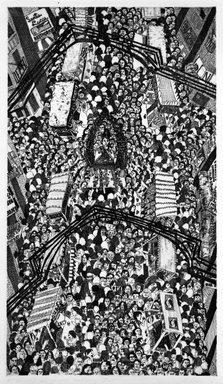 Madeline Poster (American, born 1948). <em>Festival of San Gennaro - Mulberry Street</em>, 1978. Etching on paper, sheet: 29 3/4 x 22 1/4 in. (75.6 x 56.5 cm). Brooklyn Museum, Designated Purchase Fund, 78.25.1. © artist or artist's estate (Photo: Brooklyn Museum, 78.25.1_bw.jpg)