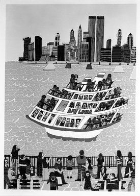 Madeline Poster (American, born 1948). <em>Day Liner's Promenade</em>, 1977. Serigraph on paper, sheet: 40 1/2 x 29 5/8 in. (102.9 x 75.2 cm). Brooklyn Museum, Designated Purchase Fund, 78.25.7. © artist or artist's estate (Photo: Brooklyn Museum, 78.25.7_bw.jpg)
